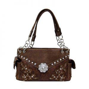 212BR TL Embossed Handbag w/ Large Rhinestones