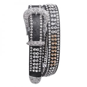 125 Kamberley Crystal Studded Metal Spike Leather Belt