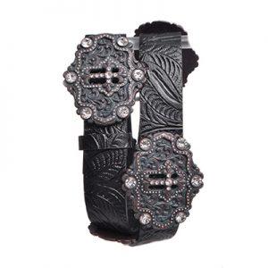 6056 Kamberley Rhinestone Horseshoe Studded Leather Belt