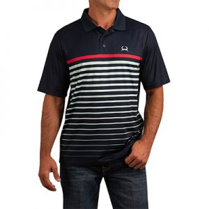 0017 Men's Cinch Striped Logo Arenaflex Polo