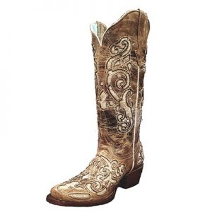 300-V Ladies Montero Glitter Inlay Western Boots
