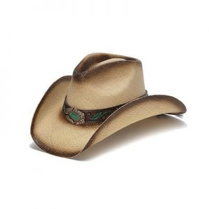 Stampede Collection Mizzie Turq Gem Leaf Print Western Hat