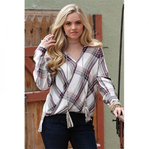 3001 Cruel Women's Rayon Surplice Plaid Top