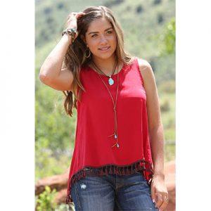 7001 Cruel Women's Cross-Back Tassel Trim Tank