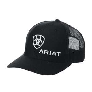 03001 Ariat Mens Black Logo Snapback Cap