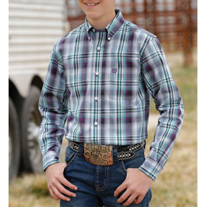 0228 Cinch Boys Western Plaid Shirt