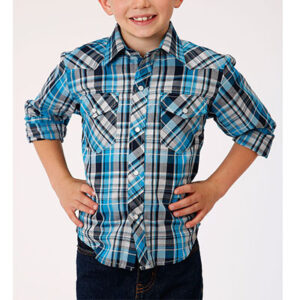3035 Boy's Roper Long Sleeve Snap Plaid Shirt
