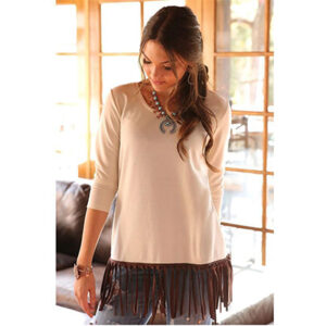 1001 Ladies Cruel Western Shirt 3/4 Sleeve Fringe