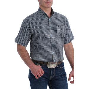 1368 Cinch Men's Classic Fit Geometric Print S/S Shirt