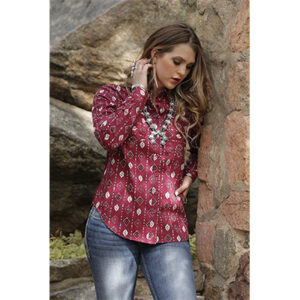 8001 Cruel Ladies Cranberry Print Lace Back Western Snap Shirt